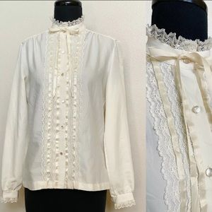 Vintage 70s Ruffle High Collar Lace Blouse